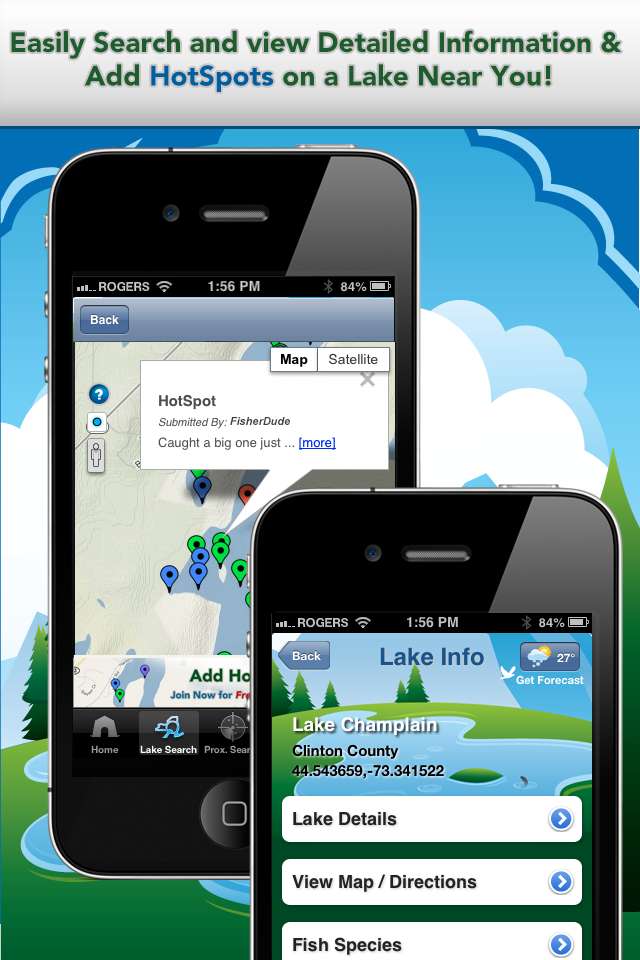 iFish Apps App Lake Details & HotSpots Screens