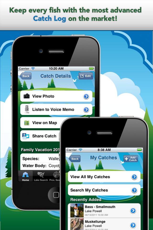iFish Apps App Catch Log Screens