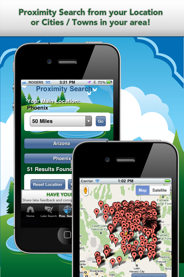 iFish Apps App Proximity Search & Map View Screens