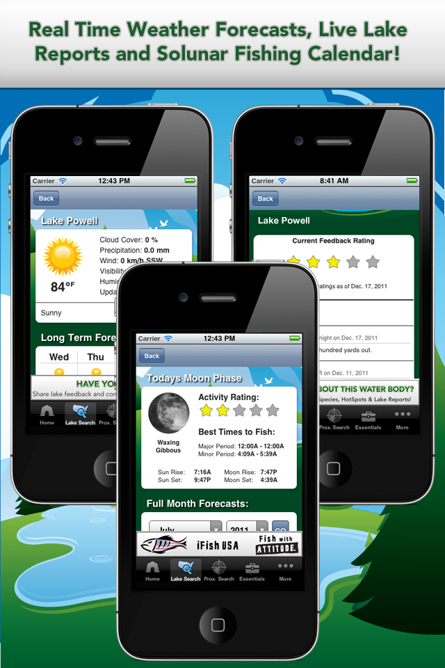 iFish Apps App Solunar Calendar, Weather Reports and Lake Reports